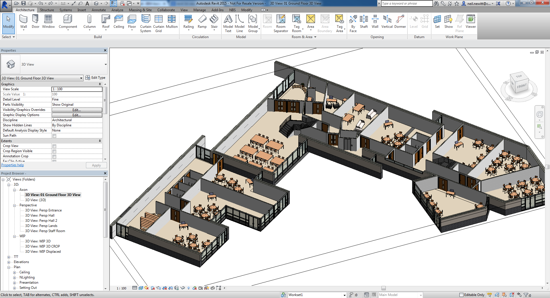 Revit cutaway 3d views floorplans and sections tips for Floor blueprint