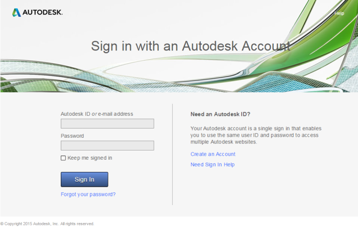Sign in Autodesk Account page
