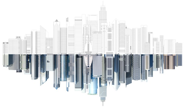 "Global AutoCAD FY15 Demand Gen Campaign image, SMB version. Cityscape created in AutoCAD and rendered in 3ds Max Design. Image represents the possibilities of AutoCAD 2015 by showing the cityscape as a line drawing with a fully rendered reflection. PLEASE NOTE: This image should only be used as part of the AutoCAD global campaign, and should appear with the headline ""Think you know AutoCAD? Think again."""