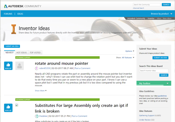 A benefit of an Autodesk Account – Inventor Idea Station